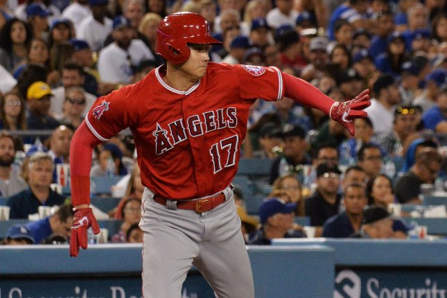 Los Angeles Angels designated hitter Shohei Ohtani is hitting .281 with eight home runs and 26 RBIs in his second season in Major League Baseball. File Photo by Jim Ruymen/UPI