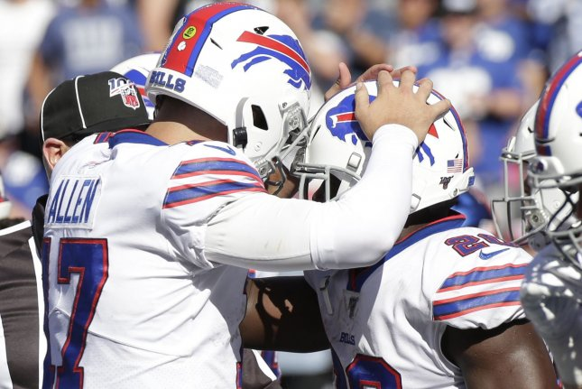 Buffalo Bills quarterback Josh Allen (L) has completed 64.2 percent of his throws for 507 yards, two touchdowns and two interceptions this season. Bills running back Frank Gore (R) has 30 carries for 88 yards and a score through two weeks. Photo by John Angelillo/UPI