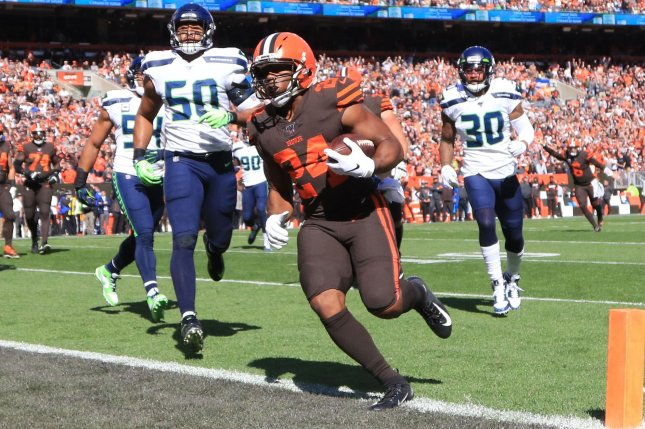 Cleveland Browns running back Nick Chubb (24) had 79 yards from scrimmage on 17 touches in Week 13. Photo by Aaron Josefczyk/UPI