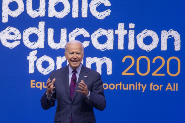 Democratic presidential candidate Joe Biden speaks to attendees at the Public Education Forum in Pittsburgh, Pa., on December 14. Photo by Archie Carpenter/UPI