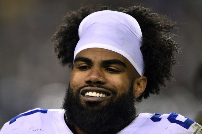 Dallas Cowboys running back Ezekiel Elliott ranks No. 2 on my list of the top-75 running backs for the 2020 fantasy football season. File Photo by Derik Hamilton/UPI