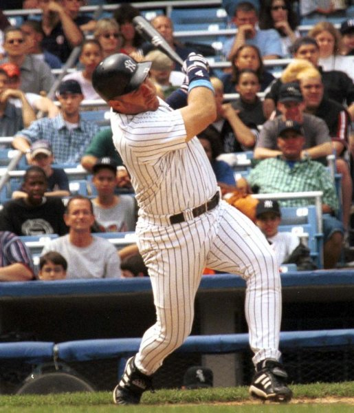 NYP2000062199 - 18 JUNE 2000 - NEW YORK, NEW YORK, USA: Jim Leyritz strikes out, in this June 18 file photo, during a New York Yankees vs Chicago White Sox game at Yankee Stadium. Leyritz was traded to the Dodgers last night after the Yankees beat the Red Sox in Boston. jr/lc/Laura Cavanaugh UPI