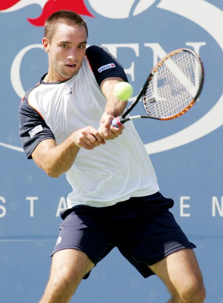 Viktor Troicki, shown in a 2010 file photo, lost one point on serve in the second set of a straight-set win Tuesday at the ATP tournament in the Netherlands. UPI Photo/Monika Graff...