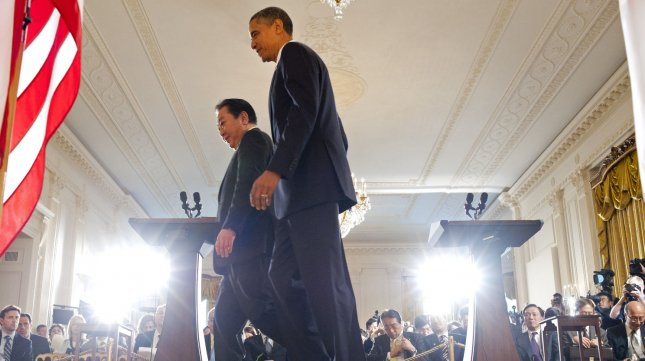 U.S. President Barack Obama and Japanese Prime Minister Yoshihiko Noda leave the East Room following a joint press conference at the White House in Washington on April 30, 2012. UPI/Kevin Dietsch