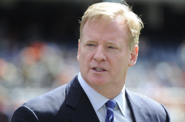 NFL Commissioner Roger Goodell on the field before the game between the Chicago Bears and the Green Bay Packers at Soldier Field on September 13, 2015 in Chicago. Photo by David Banks/UPI