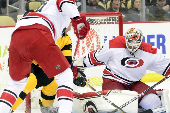 Former Carolina Hurricanes goalie Eddie Lack has been traded to the Philadelphia Flyers. Photo by Archie Carpenter/UPI