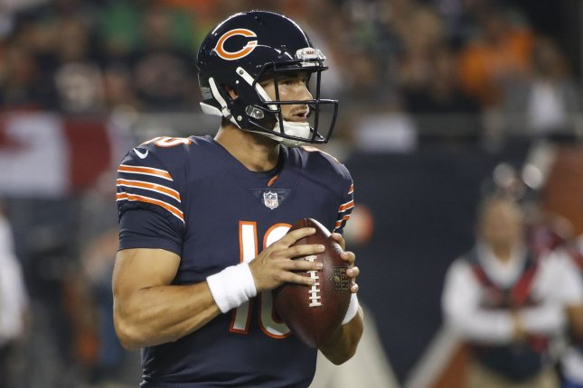 Chicago Bears quarterback Mitchell Trubisky drops back to pass during a game against the Seattle Seahawks at Soldier Field on September 17, 2018. Photo by Kamil Krzaczynski/UPI