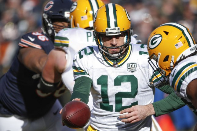 Aaron Rodgers and the Green Bay Packers take on the Detroit Lions on Sunday. Photo by Kamil Krzaczynski/UPI