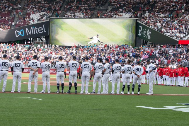 The New York Yankees had two six-run innings in Saturday's 17-13 victory over the Boston Red Sox at London Stadium. Photo by Mark Thomas/UPI