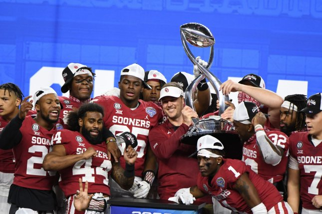 Oklahoma head coach Lincoln Riley and the Sooners celebrate their victory over the Florida Gators in the Goodyear Cotton Bowl Classic on Wednesday at AT&T Stadium in Arlington, Texas. The Sooners defeated the Gators 55-20. Photo by Ian Halperin/UPI