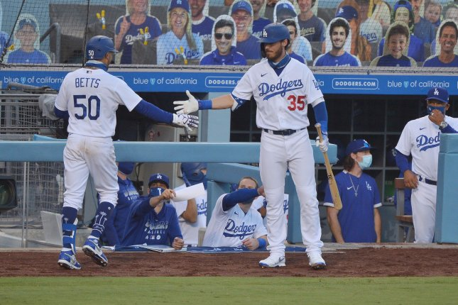 Los Angeles Dodgers star outfielder Mookie Betts (50) ranked first in jersey sales, with teammate Cody Bellinger (35) second. File Photo by Jim Ruymen/UPI