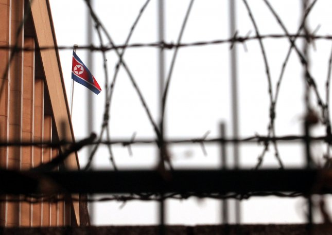The North Korean national flag flies over its embassy in Beijing. UPI/Stephen Shaver