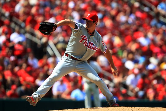 Philadelphia Phillies starting pitcher Cole Hamels delivers a pitch to the St. Louis Cardinals in the first Inning at Busch Stadium in St. Louis on June 21, 2014. UPI/Bill Greenblatt