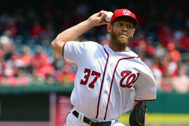 Washington Nationals starting pitcher Stephen Strasburg (37) throws a pitch. File photo by Kevin Dietsch/UPI