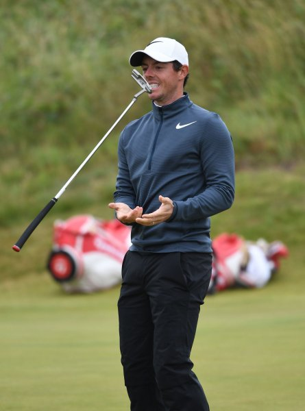 Rory Mcllroy tosses his club in the air on the third green on Day 2 at the 146th Open Championship in Southport, England on Friday. Photo by Hugo Philpott/UPI