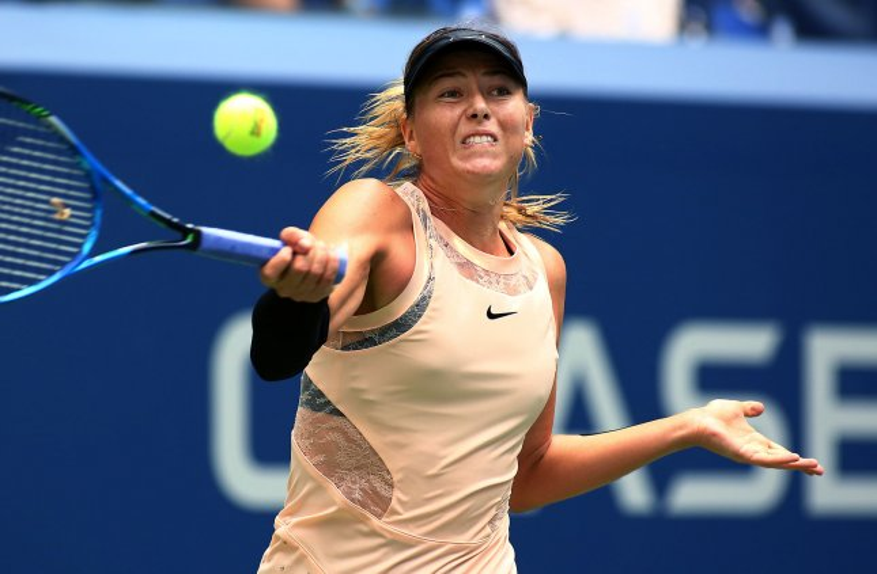 Maria Sharapova returns a ball during the U.S. Open last month in New York. Photo by Monika Graff/UPI