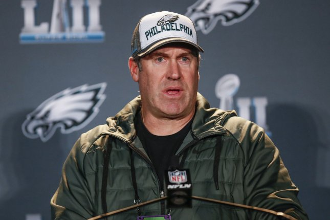 Philadelphia Eagles head coach Doug Pederson speaks to the media at Super Bowl LII press conference on January 30 at the Mall of America in Bloomington, Minn. Photo by Kamil Krzaczynski/UPI