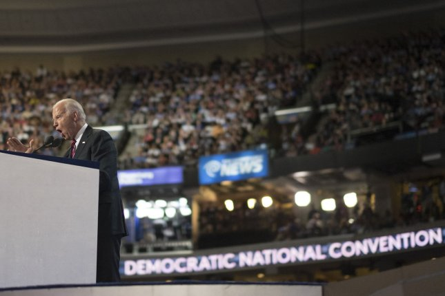 Former Vice President Joe Biden speaks at the 2016 Democratic National Convention at Wells Fargo Center in Philadelphia, Pa., on July 27, 2016. Biden has said he plans to appear at the 2020 convention in Milwaukee.  File Photo by Pete Marovich/UPI