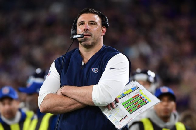 The Tennessee Titans, led by head coach Mike Vrabel (pictured), have recorded 23 total positive COVID-19 tests over the past two weeks. File Photo by Kevin Dietsch/UPI