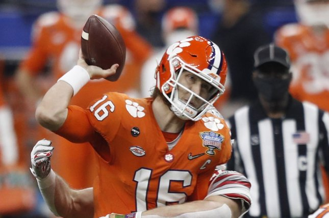 Clemson Tigers quarterback Trevor Lawrence, who held a personal workout for NFL teams on Friday, had left shoulder surgery on Tuesday in Los Angeles. File Photo by Aaron Josefczyk/UPI