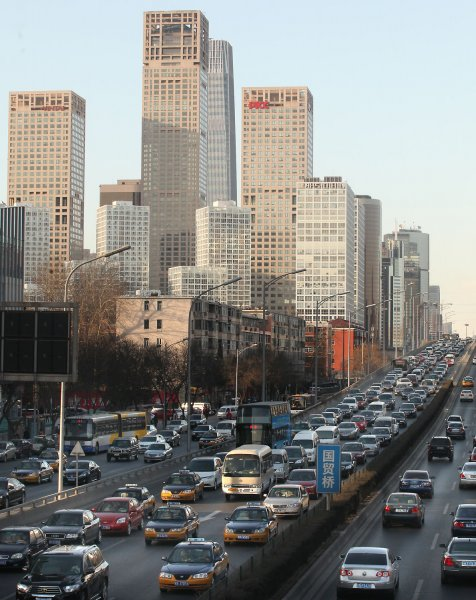 Heavy traffic crawls along a major ring road in downtown Beijing March 11, 2011. UPI/Stephen Shaver