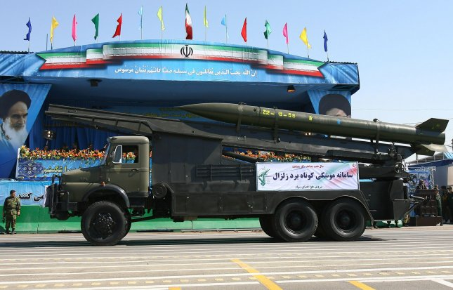 Iranian made Zelzal surface-to-surface missile is displayed during annual military parade on September 22,2010 in Tehran,Iran that mark the beginning of the 1980-1988 war between Iran and Iraq. UPI/Maryam Rahmanian