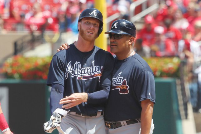 Atlanta Braves first base coach Eddie Perez talks with starting pitcher Mike Foltynewicz. Photo by Bill Greenblatt/UPI