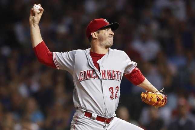 Cincinnati Reds starting pitcher Matt Harvey delivers against the Chicago Cubs in the third inning on September 14 at Wrigley Field in Chicago. Photo by Kamil Krzaczynski/UPI