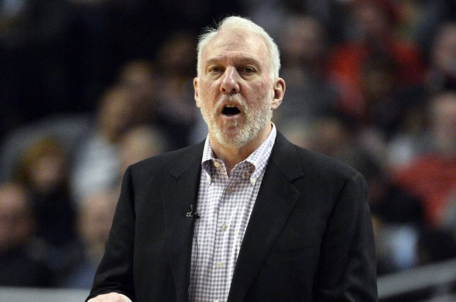 San Antonio Spurs head coach Gregg Popovich yells to his players during the fourth quarter against the Chicago Bulls on January 22, 2015 at the United Center in Chicago. File photo by Brian Kersey/UPI