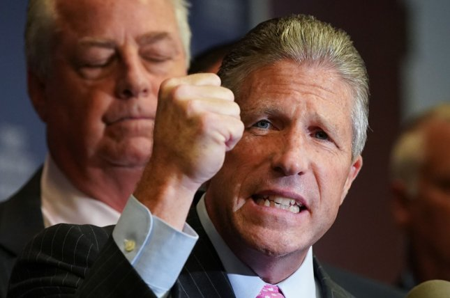 Police union leader Patrick Lynch criticizes New York City Mayor Bill de Blasio on August 2 after NYPD officer Daniel Pantaleo was suspended over the 2014 death of Eric Garner. Pantaleo was later fired. Photo by John Angelillo/UPI