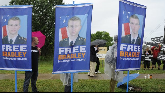 Protestors gather to protest the court martial of US Army PFC Bradley Manning, outside the front gate of Fort Meade, Maryland. Manning faces multiple charges for disclosing thousands of classified documents to WikiLeaks, and maintains that he is a whistleblower. (File/UPI/Mike Theiler)