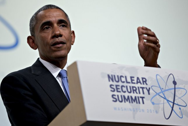 U.S. President Barack Obama speaks during a news conference at the Nuclear Security Summit in Washington, DC on Friday. Obama called out Republican presidential candidate Donald Trump, who earlier in the week suggested allowing Asian nations to build their own nuclear stockpiles, rather than fall under the U.S. nuclear umbrella. Pool photo by Andrew Harrer/UPI