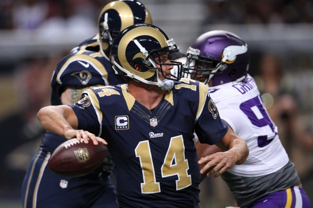 St. Louis Rams quarterback Shaun Hill throws the football against the Minnesota Vikings in the first quarter at the Edward Jones Dome in St. Louis on September 7, 2014. UPI/Bill Greenblatt