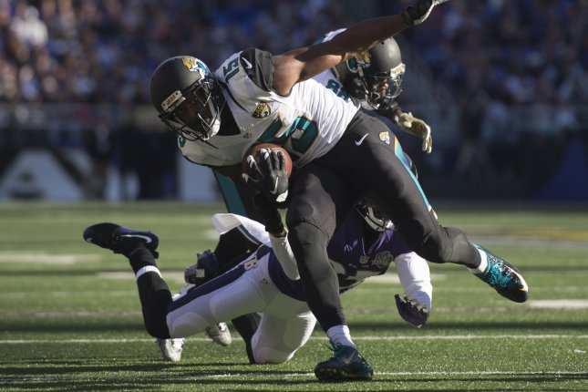 Former Jacksonville Jaguars wide receiver Allen Robinson (15) runs against the Baltimore Ravens defense in the second quarter on November 15, 2015 at M&T Bank Stadium in Baltimore, Maryland. File photo by Kevin Dietsch/UPI