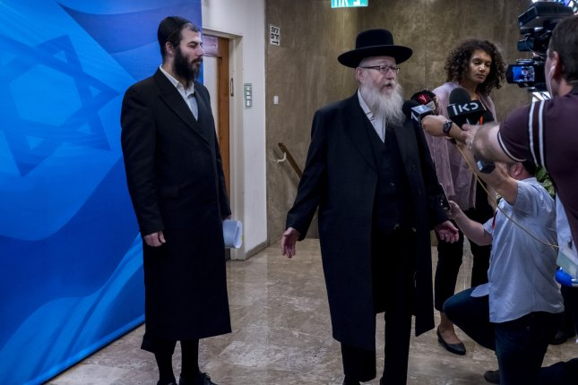 Israeli Deputy Health Minister Yaakov Litzman is seen at the office of Prime Minister Benjamin Netanyahu on May 26. File Photo by Jim Hollander/UPI