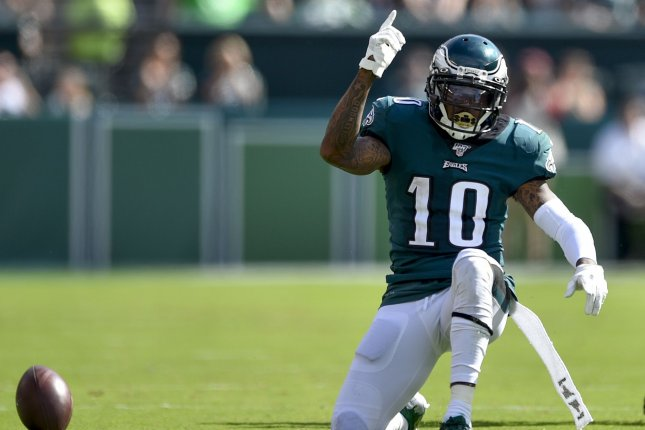 Philadelphia Eagles wide receiver DeSean Jackson will have surgery Tuesday to repair a torn abdominal muscle. File Photo by Derik Hamilton/UPI