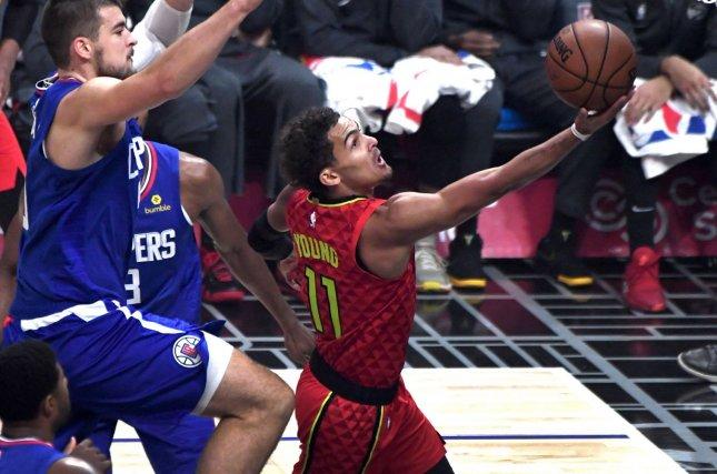 Atlanta Hawks guard Trae Young (11), shown Nov. 13, 2019, will miss Game 5 of the Eastern Conference Finals because of a bone bruise in his right foot. File Photo by Jon SooHoo/UPI