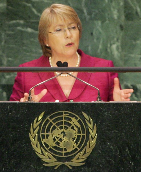 Michelle Bachelet at the 62nd General Assembly at the United Nations on September 25, 2007 in New York City. (UPI Photo/Monika Graff)