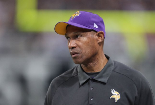 Leslie Frazier, shown during a Dec. 16 game, was fired Monday as coach of the Minnesota Vikings. UPI/Bill Greenblatt