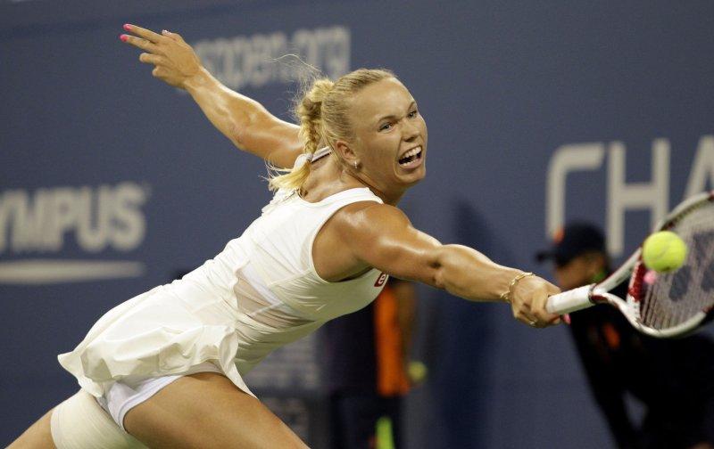 Caroline Wozniacki, shown in last year's U.S. Open, was a straight-set winner Wednesday at the WTA tournament in Dubai. UPI/John Angelillo