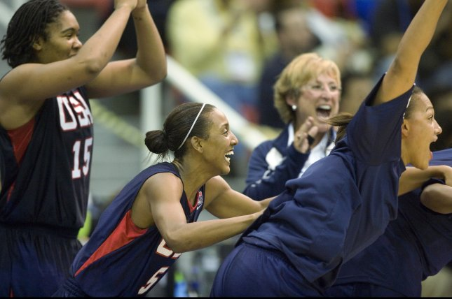 (L-R) USA's Eriana Larkins, Candice Wiggins and Marissa Coleman leap off the bench in celebration as time runs out for Brazil in the women's basketball final during the 2007 Pan Am Games in Rio de Janeiro, Brazil on July 24, 2007. USA won gold with a score of 79-66. (UPI Photo/Heinz Ruckemann)