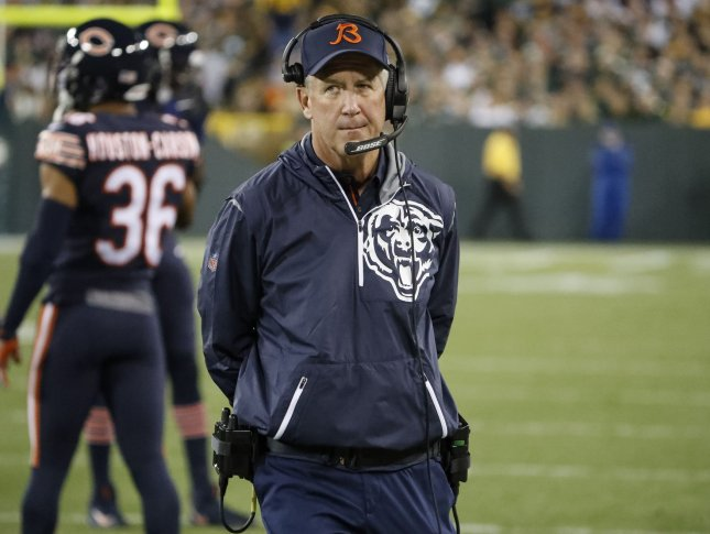 Chicago Bears coach John Fox looks on from the sidelines during an NFL game against the Green Bay Packers at Lambeau Field in Green Bay on September 28. Photo by Kamil Krzaczynski/UPI