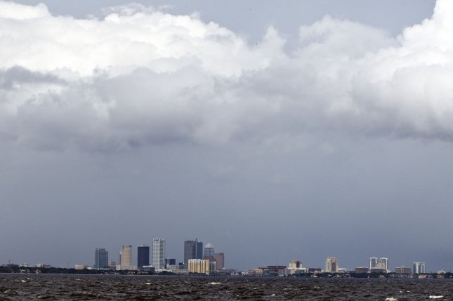 Tropical Storm Isaac's storm clouds hover over downtown Tampa, Florida. File Photo by Mark Wallheiser/UPI