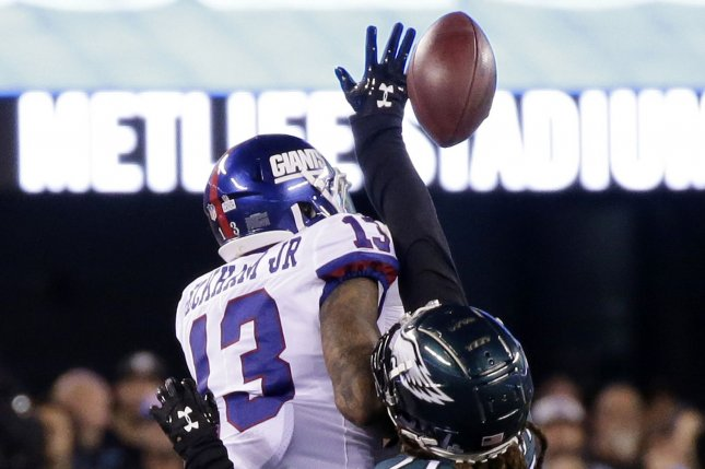 Philadelphia Eagles defensive back Ronald Darby breaks up a pass intended  for New York Giants wide receiver Odell Beckham Jr. in the first half on  Thursday ... 1e06bf391