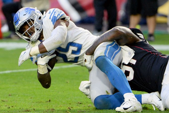 Detroit Lions running back Theo Roddick is tackled after picking up a first down in the fourth quarter against the Arizona Cardinals on December 9, 2018. Photo by Art Foxall/UPI