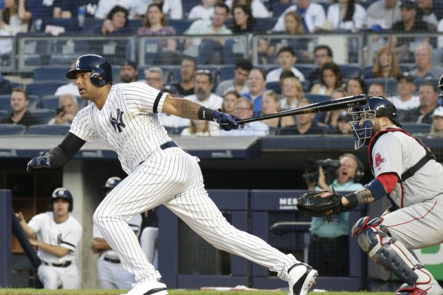 New York Yankees outfielder Aaron Hicks signed a seven-year extension in February. File Photo by John Angelillo/UPI