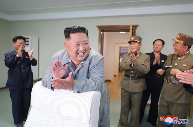 This image, released on Aug. 7, 2019, by the North Korean Official News Service, shows North Korean leader Kim Jong Un overseeing the country's fourth series of missile launches in less than two weeks. Photo by KCNA/UPI