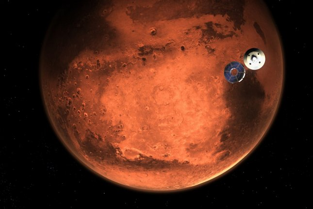 This illustration shows NASA's Perseverance rover casting off its spacecraft's cruise stage, minutes before entering the Martian atmosphere. Image courtesy of NASA