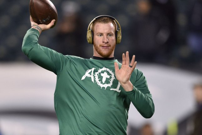 Indianapolis Colts quarterback Carson Wentz, shown Nov. 11, 2018, suffered the foot injury during a training camp practice last week. File Photo by Derik Hamilton/UPI