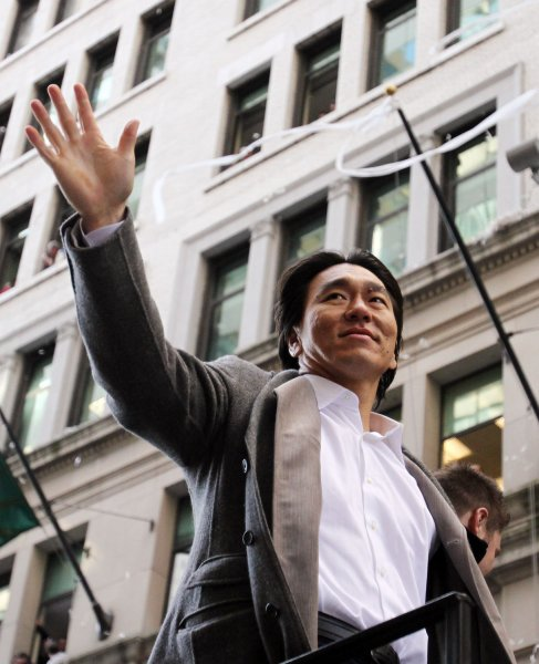 The New York Yankees' Hideki Matsui rides up Broadway at the ticker tape parade for their World Series victory over the Philadelphia Phillies in New York City Nov. 6, 2009. UPI/John Angelillo